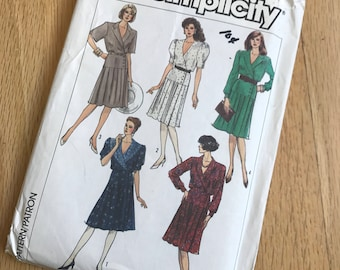 1980s vintage simplicity womens dress/skirt sewing pattern