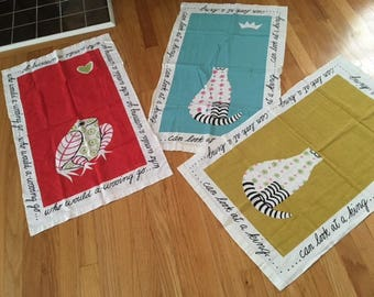 Lot of 3, Vintage Mid Century Modern Linen Kitchen Towels/Cats/Frog