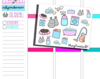 Planner Stickers l 'Chore Doodles' Cute planner Stickers/ Perfect For  Erin Condren, FiloFax, Kikki K, Happy Planner,Travellers Notebook