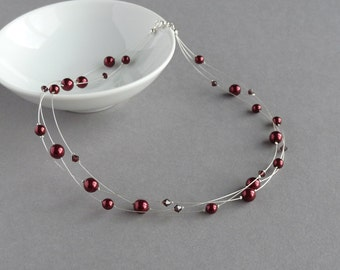 Burgundy Floating Pearl Necklace - Claret Wedding Accessories - Deep Red Bridesmaid Jewellery - Marsala Multi-strand Necklace - Bridal Party