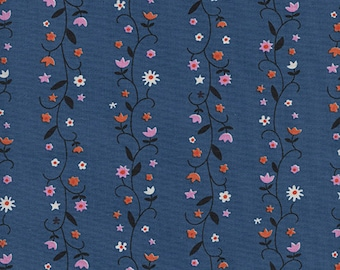 Daisy Vines in Denim by Kim Kight from the Welsummer collection for Cotton and Steel #3061-01 by 1/2 yard