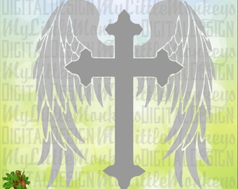 Memorial SVG ~ Cross with Wings ~ Wings ~ Cross Svg ~ Memorial Decal ~ Monogram SVG ~ Commercial Use SVG ~ Cut File ~ Clipart eps dxf png