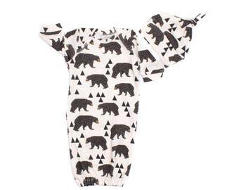 Newborn Geo Bear Gown, Newborn Organic Gown, Tribal Newborn Gown, Newborn Sleep Sack, Newborn Gown Boy Geo Bear Newborn Gown, Baby Girl Gown