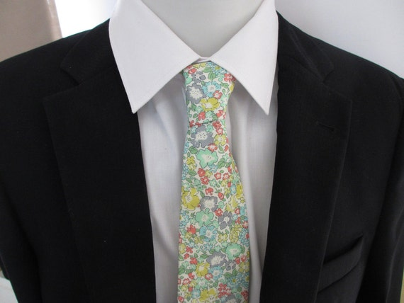 Floral Necktie ~ made in Strawberry thief in gray and duck egg blue colorway ~ men's tie ~ necktie ~ cravat SYHSDITaF