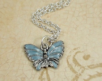 Blue Butterfly Necklace, Silver and Blue Enameled Butterfly Charm on a Silver Cable Chain