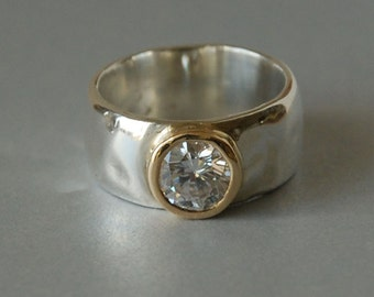 Clear Gemstone Ring Set in 14K Gold Bezel, Sterling Silver Band