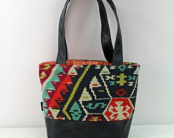 Lulu Medium Tote  Bag - Fiesta with PU Gray Leather - READY to SHIP   Purse Shoulder Straps 3 pockets Handbag Washable