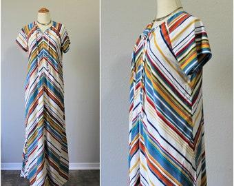 Vintage 70's Gorgeous Rainbow Chevron Striped Terry Cloth Maxi caftan tent Dress