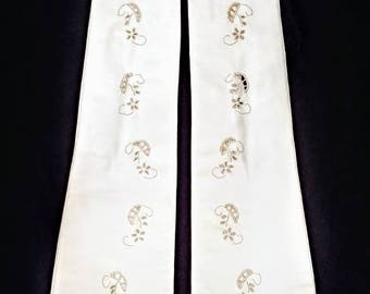 Barra Italian Kid Leather Embroidered Formal Elbow Gloves ~ Size 6 1/2