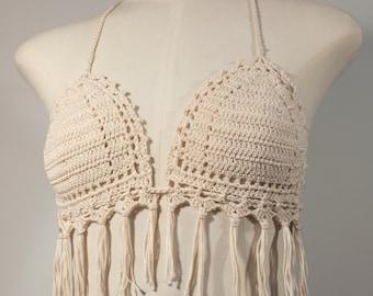 Crochet Bikini Top with fringes, Boho, Festival, Beachwear