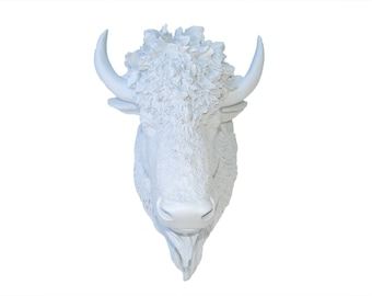 Faux Taxidermy - Bison Wall Mount - White Resin Bison Head BIH01