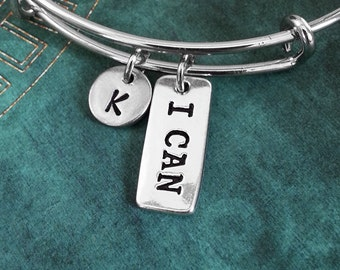 I Can Bangle I Can Bracelet Inspirational Jewelry Exercise Gift Silver Charm Bracelet Stackable Bangle Adjustable Bangle Personalized Bangle
