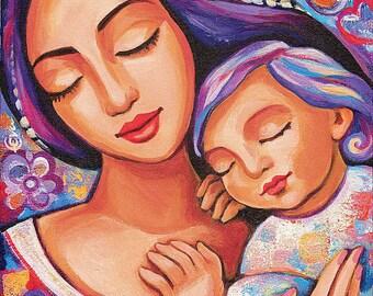 Mother child, motherhood art, nursery wall art, beauty painting, mother son, feminine decor print 8x11+