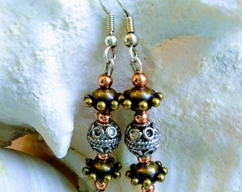 Bronze Copper and Bali Silver Beaded Dangle Drop Earrings