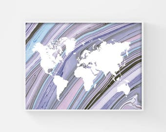 Printable World Map, Map of the World, World Map Poster, Large World Map Art, World Atlas Map, Boho Room Decor, Pastel Goth, Marble Texture