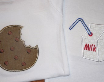 Set of onesies for twins, Cookies and Milk
