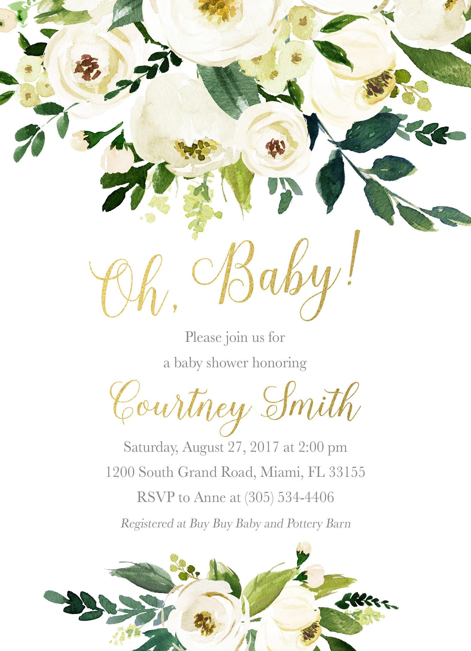 Oh Baby Baby Shower Brunch Invitation, Gender Neutral Baby Shower ...