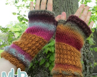 Knitting Pattern -Two-Tone Texture Wrist Warmers Knitting Pattern
