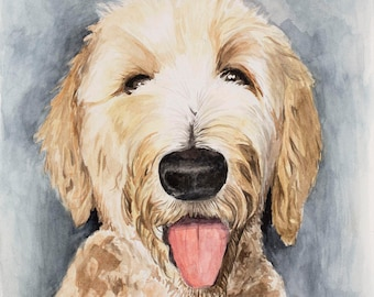 Custom Goldendoodle Watercolor Dog Portrait