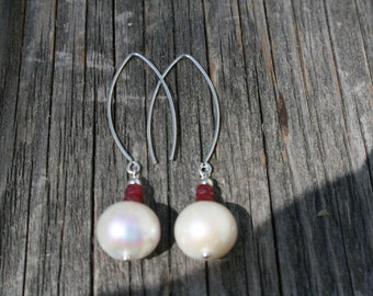 12mm Freshwater pearls with RUBIES and sterling silver ear wires and components