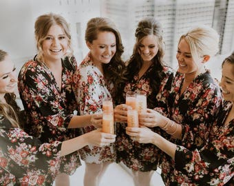 FREE BRIDAL ROBE! Set of 10+  Bridesmaid Robes, Bridesmaid Gift, Gift for Bridesmaid, Robe for Bridesmaid, Bridal Party Robe, Floral Robe