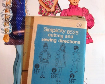 Little Girls Dress with Sleeve and Trim Variations, High Ruffled Neckline Size 6 Vintage 1960s Simplicity Pattern 8525 UNCUT / NO ENVELOPE