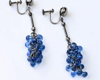 Blue Bead Earrings, Vintage Dangle, Glass Bead Earrings, Long Sky Blue Earrings