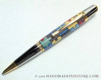 AUTISM AWARENESS Puzzle pen (#4) - wood inlayed in Black Titanium/Titanium Gold Sierra style pen