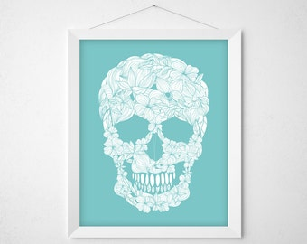 Floral Skull Print - aqua white goth wall decor art - minimal modern floral custom color poster flowers botanicals human day of the dead