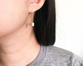 Block Gray Concrete Dangle Earrings Hypoallergenic Architectural Industrial Minimalist Arch Gold