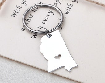 I heart Mississippi keychain - Mississippi keyring - State Charm - Map Jewelry - Map keychain