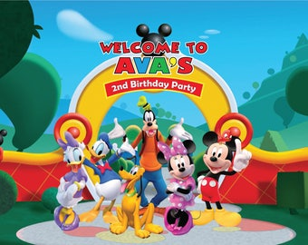 DIGITAL Custom Mickey Mouse Birthday Party Backdrop - Mickey Mouse Birthday Party Background - Mickey Mouse Clubhouse Party Decoration