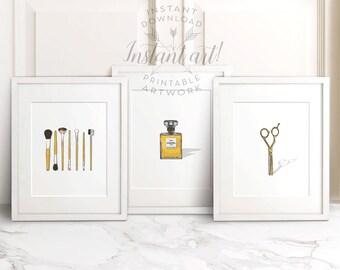Bathroom wall decor PRINTABLE set of 3, makeup brushes,chanel print,salon decor,salon wall art,shop decor,printable decor,bathroom wall art