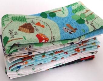 Kids Cloth Napkin Set of 5 // Nature Nut! // Lunchbox Napkins // Kids Handkerchief // Party Favor // Stocking Stuffer // Gift for Kids