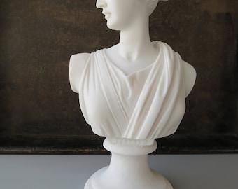 Greek / Roman Goddess Artemis / Diana Bust Head Alabaster Statue Sculpture 22cm Handmade
