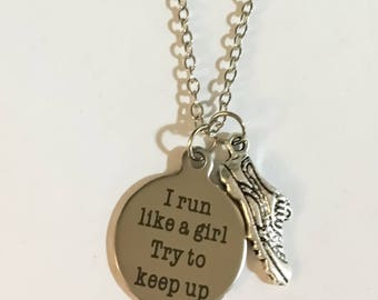 Running Jewelry, Running Necklace, Barbell Charm, Fitness Jewelry, Gift Ideas, Marathon Necklace, Running Jewelry, Gift for Her, Runner Gift