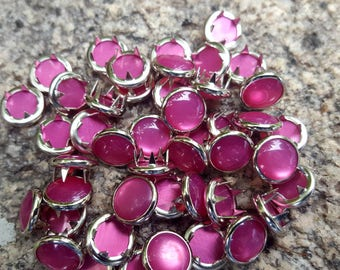 Hot Pink Pearl Snaps, Pearl Snap Fasteners, 12 mm Pearl Snaps, size 16 pearl snaps