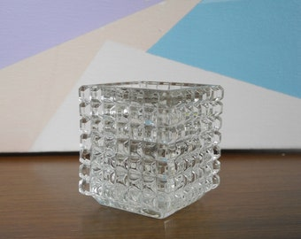 Candle holder mid century crystal glass