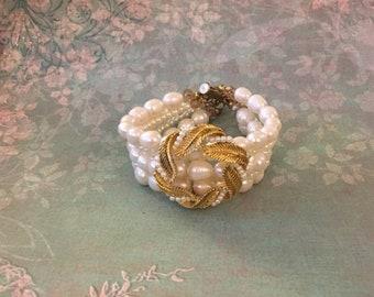 ON SALE SET Sale - 5 strand freshwater pearl and glass pearl bracelet - vintage glamour - Old Hollywood - Pinup - Burlesque - Estate - Brida