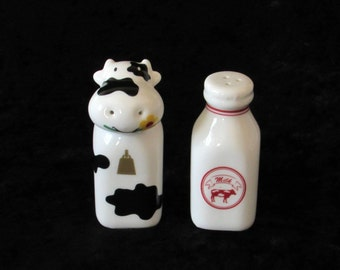 Dairy Cow and Milk Bottle Salt and Pepper Shakers Vintage Country Kitchen Home Decor