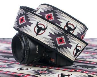 Longhorn Camera Strap, dSLR, SLR, Texas,  Mirrorless, Canon Strap, Nikon Strap, Replacement camera strap, Camera Neck Strap,  Pocket, 243