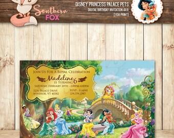 Disney Princess Palace Pets Birthday Invitation - Custom Digital Birthday Invitation 4x6 Princess Pets, Palace Pets, Disney Princess Pets