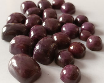 Natural Indian Ruby Mix Size Cabs Lot Of 24 Pieces