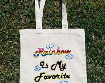 Rainbow Is My Favourite Color, Rainbow Tote Bag, Rainbow Quotes, Rainbow Statement, Positive Vibes Only, Woman Tote Bag, Woman Grocery Bag