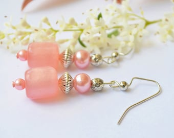 FREE SHIPPING,coral earrings,pink coral earrings,coral pink earrings,pink earrings,coral color earrings,coral boho earrings ,pink boho
