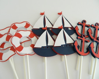 24 Nautical Cupcake Toppers Nautical Baby Shower Sailboat Cupcake Toppers Anchor Cupcake Toppers Nautical Birthday • Set of 24