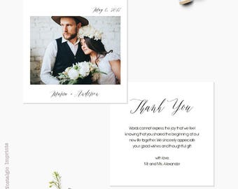 """Rustic Wedding Thank You Cards, 5.25 x 5.25, Wedding Thank you note, the """"Marisa"""""""
