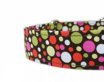 Pink and Orange Polka Dots - Designer Dog Collar - Pet Accessories - Buckle Collar