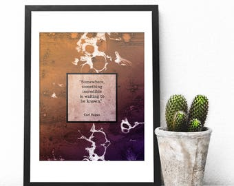 Carl Sagan Quote, Science Quotes, Science Prints, Inspirational Quote Art Print, Science Gift, Learning, Science Poster, Resist, Geek Gift