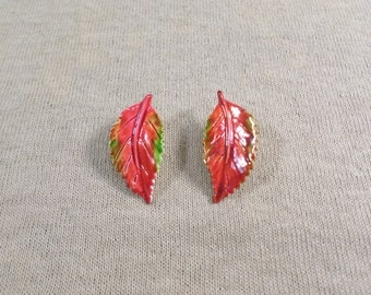 Vintage Gold Tone Multi Color Enamel Leaf Shape Clip On Earrings  DL* 4948